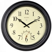 Burnes 18in Metal Wall Clock w/ Thermometer (Indoor or Outdoor) - UCN5107