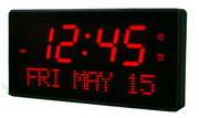 12.5in Bordeaux 2.5in Digit Large LED Wall/Desk Clock 16 Alarms& Remote Control by Aqua Pear