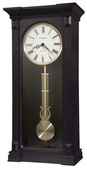 Howard Miller Westminster Chiming Wooden Wall Clock in Worn Black Finish & Red & Brown Undertones -