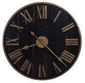 31in Impressive Gallery Wall Clock Metal Outer Frame Antique Brass Worn Black Dial.- CHM4270