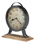 Howard Miller Antiqued Mantel Clock with Rustic Wooden Base - CHM4836