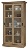 Howard Miller MEISHA II Deluxe AGED NATURAL Wooden Display Curio Cabinet (Made in USA) - CHM4760