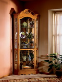 Howard Miller Golden Oak Arched Bonnet Corner Curio Cabinet (Made in USA) - CHM1478