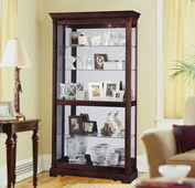 42.5in Wide Howard Miller CHM1494 Deluxe Windsor Cherry Curio Cabinet Acanthus Leaf Molding (Made in