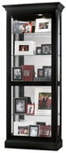 32in Wide Howard Miller CHM1606 Deluxe Black Satin Finish Wooden Curio Cabinet (Made in USA)