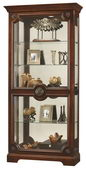 Howard Miller Hampton Cherry Curio Cabinet with Rosette Overlays (Made in USA) - CHM2912