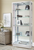 Howard Miller Contemporary Wooden Curio Cabinet in Silver Finish (Made in USA) - CHM4063