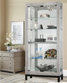 Howard Miller CHM4306 Deluxe Curio Cabinet in Burnished Silver Finish (Made in USA)