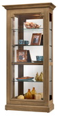 Howard Miller Lightly Distressed Curio Cabinet in Aged Natural Finish (Made in USA) - CHM4314