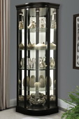 Howard Miller Corner Curio Cabinet Black Satin Finish Frameless Glass Door (Made in USA)