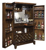 Howard Miller Deluxe CHM2950 Rustic Hardwood Hide-A-Bar Wine & Bar Cabinet