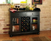 Howard Miller Deluxe CHM1482 Worn Black Wine & Bar Cabinet