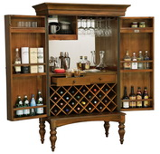 Howard Miller Deluxe CHM4422 Italiana Hide-A-Bar Wine & Bar Cabinet Key West Finish
