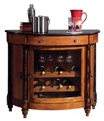 Howard Miller Merlot Valley Deluxe Vintage Umber Worn Black Half Moon Wooden Wine Console - CHM1388