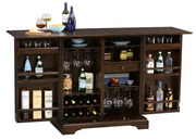 Howard Miller CHM4256 Benmore Deluxe Rustic Hardwood Distressed Wooden Portable Wine Bar Cabinet