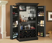 Howard Miller Sambuca Deluxe Worn Black Classy Wooden Wine & Bar Cabinet - CHM4226
