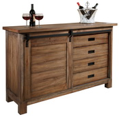 Howard Miller CHM4224 Homestead Deluxe Relaxed Classic Mission Wooden Wine & Bar Console Cabinet