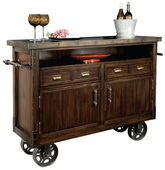 Howard Miller Barrow Rustic Hardwood Wine Console on the Wheels - CHM4222