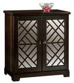 Howard Miller CHM4230 Barolo Deluxe Black Coffee Mirrored Panels Portable Wooden Wine Console