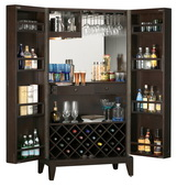 Howard Miller CHM4234 Barolo Black Coffee Mirrored Panels Wine & Bar Wooden Cabinet