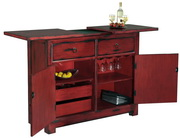 Howard Miller Rufina Deluxe Aged Red Distinctive Wooden Portable Wine & Bar Console - CHM4432