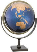 12in Replogle Tallinn Deluxe Bule/Gold Metallic Oceans Desk Globe - CRP1338