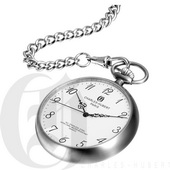 Charles Hubert Paris Stainless Steel Brushed Finish Open Face Quartz Pocket Watch - DCH5316