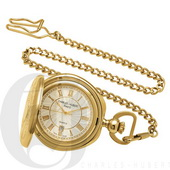 Charles Hubert Paris Gold-Plated Hunter Case Quartz Pocket Watch - DCH5355