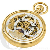 Charles Hubert Paris Gold-Plated Polished Finish Open Face Dual Time Mechanical Pocket Watch - DCH53