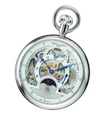 Charles Hubert Paris Polished Finish Open Face Dual Time Mechanical Pocket Watch - DCH5364