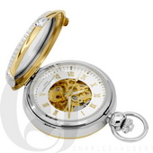 Charles Hubert Paris Two-Tone Hunter Case Picture Frame Mechanical Pocket Watch - DCH5385
