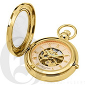 Charles Hubert Paris Gold-Plated Polished Finish Hunter Case Picture Frame Mechanical Pocket Watch -