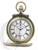 Charles Hubert Paris Gold-Plated Antiqued Finish Hunter Case Quartz Pocket Watch - DCH5412
