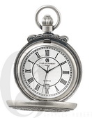 Charles Hubert Paris Antiqued Finish Hunter Case Quartz Pocket Watch - DCH5415
