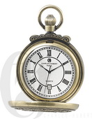 Charles Hubert Paris Gold-Plated Antiqued Finish Hunter Case Quartz Pocket Watch - DCH5418