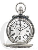 Charles Hubert Paris Antiqued Finish Hunter Case Quartz Pocket Watch - DCH5421