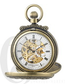 Charles Hubert Paris Gold-Plated Antiqued Finish Double Hunter Case Mechanical Pocket Watch - DCH543