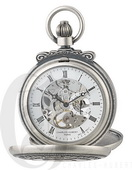 Charles Hubert Paris Antiqued Finish Double Hunter Case Mechanical Pocket Watch - DCH5439