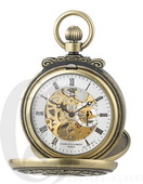 Charles Hubert Paris Gold-Plated Antiqued Finish Double Hunter Case Mechanical Pocket Watch - DCH544