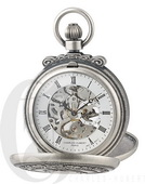 Charles Hubert Paris Antiqued Finish Double Hunter Case Mechanical Pocket Watch - DCH5445