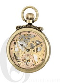 Charles Hubert Paris Gold-Plated Antiqued Finish Open Face Mechanical Pocket Watch - DCH5448