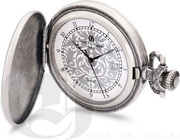 Charles Hubert Paris Antique Chrome Finish Hunter Case Quartz Pocket Watch - DCH5481
