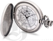 Charles Hubert Paris Antique Chrome Finish Hunter Case Quartz Pocket Watch - DCH5487