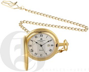 Charles Hubert Paris Gold-Plated Satin Finish Hunter Case Quartz Pocket Watch - DCH5496