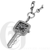 Charles Hubert Paris Stainless Steel Key Shape Pendant with Swarovski Crystal Quartz - DCH5502