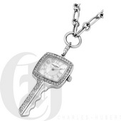 Charles Hubert Paris Stainless Steel Key Shape Pendant with Swarovski Crystal Quartz - DCH5505