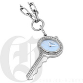 Charles Hubert Paris Stainless Steel Key Shape Pendant with Swarovski Crystal Quartz - DCH5508