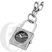 Charles Hubert Paris Stainless Steel Lock Shape Pendant with Swarovski Crystal Quartz - DCH5514