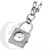 Charles Hubert Paris Stainless Steel Lock Shape Pendant with Swarovski Crystal Quartz - DCH5517