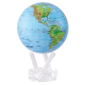4.5in Dia MOVA Globe - Blue with Relief Map Gloss Finish